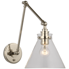 Parkington Double Library Wall Light in Polished Nickel with Clear Glass