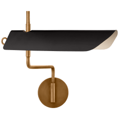 Miles Swing Arm Wall Light in Antique-Burnished Brass with Matte Black Shade