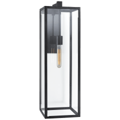 Fresno Long Wall Sconce in Aged Iron with Clear Glass