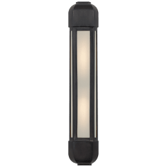 Dublin Tall Faceted Sconce in Aged Iron with Frosted Glass