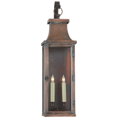 Bedford Large Scroll Arm Lantern in Natural Copper