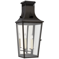 Belaire Medium 3/4 Wall Lantern in Blackened Copper with Clear Glass
