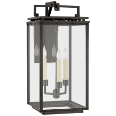 Cheshire Medium Bracketed Wall Lantern in Aged Iron with Clear Glass