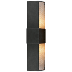 "Bowery 18"" Wall Sconce in Aged Iron with Mesh Diffuser"