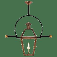"Georgetown 22"" Classic Yoke Ladder Rest Ceiling Lantern in Antique Copper, Gas"