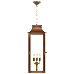 "Market Street 30"" Chain Mount Ceiling Lantern in Antique Copper, Electric"