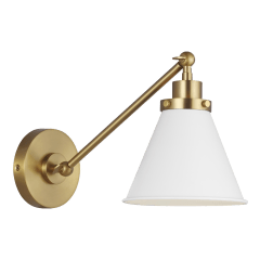 Wellfleet Single Arm Cone Task Sconce Matte White and Burnished Brass