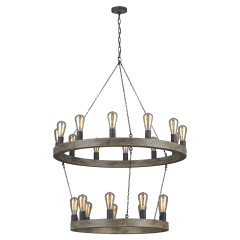 Avenir Two-Tier Chandelier Weathered Oak Wood / Antique Forged Iron