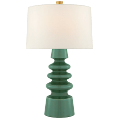 Andreas Medium Table Lamp in Aventurine with Linen Shade