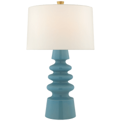 Andreas Medium Table Lamp in Blue Jade with Linen Shade