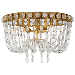 Navona Medium Basket Flush Mount in Gild and Crystal