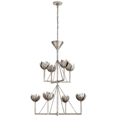 Alberto Medium Two Tier Chandelier in Burnished Silver Leaf