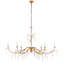 Iberia Large Chandelier in Antique Gold Leaf and Crystal