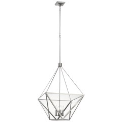 Lorino Large Lantern in Polished Nickel with Clear Glass