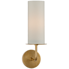 Larabee Single Sconce in Soft Brass with Cream Linen Shade