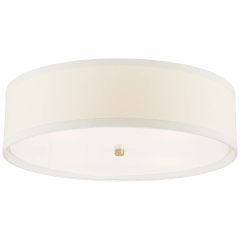Walker Large Flush Mount in Gild with Cream Linen Shade
