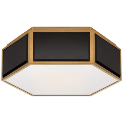 Bradford Small Hexagonal Flush Mount in Black and Soft Brass with Frosted Glass
