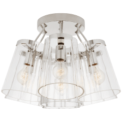 Thoreau Large Semi-Flush Mount in Polished Nickel and Cream with Clear Glass