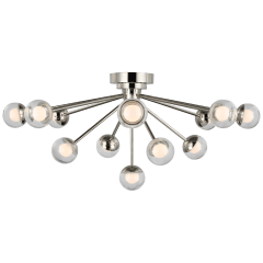 """Alloway 30"""" Flush Mount in Polished Nickel with Clear Glass"""