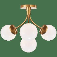 Prescott Medium Semi-Flush Mount in Soft Brass with White Glass