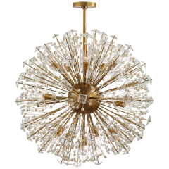 Dickinson Large Chandelier in Soft Brass with Clear Glass and Cream Pearls