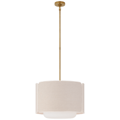 Eyre Medium Hanging Shade in Soft Brass and Soft White Glass with Natural Linen with Cream Trimmed Shade