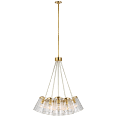 Thoreau Large Chandelier in Soft Brass and Cream with Clear Glass