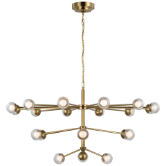 Alloway Large Chandelier in Soft Brass with Clear Glass