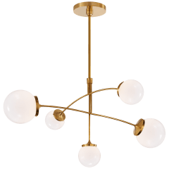 Prescott Medium Mobile Chandelier in Soft Brass with White Glass