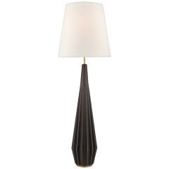 Cachet Floor Lamp in Aged Iron with Linen Shade