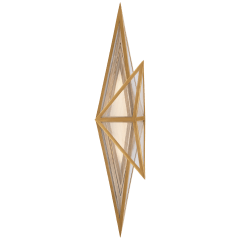 Ori Tall Sconce in Antique-Burnished Brass with Clear Lined Glass