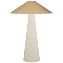 Miramar Table Lamp in Porous White with Antique-Burnished Brass Shade