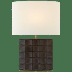 Struttura Medium Table Lamp in Crystal Bronze with Linen Shade