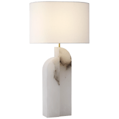 Savoye Large Left Table Lamp in Alabaster with Linen Shade