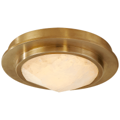 "Halcyon 5"" Solitaire Bezel Flush Mount in Antique-Burnished Brass and Natural Quartz"