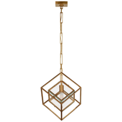 Cubed Medium Pendant in Gild with Clear Glass