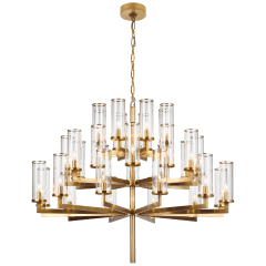 Liaison Triple Tier Chandelier in Antique-Burnished Brass with Clear Glass