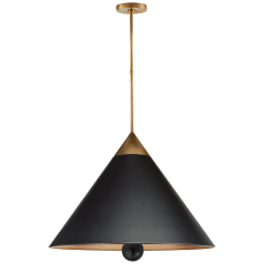 Cleo Large Pendant in Antique-Burnished Brass and Black Marble with Black Shade with Gild Interior