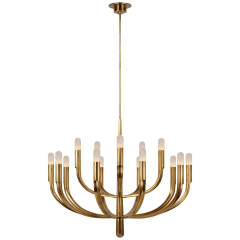 Verso Grande Tiered Chandelier in Antique-Burnished Brass with Alabaster