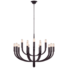 Verso Grande Tiered Chandelier in Bronze with Clear Glass