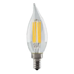 4.5W CA11 LED Clear Dimmable E12 Candelabra base 350lm 2700K 120v
