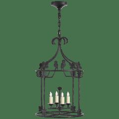 Luciano Medium Round Lantern in Aged Iron