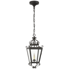 Lafayette Small Hanging Lantern in French Rust with Clear Glass