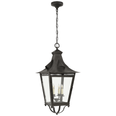 Orleans Large Hanging Lantern in French Rust with Clear Glass