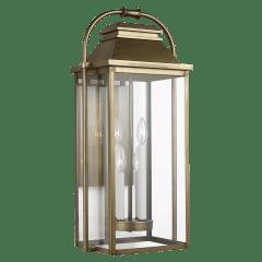 Wellsworth Large Lantern Painted Distressed Brass