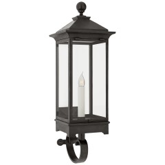 Rosedale Small Bracketed Wall Lantern in French Rust with Clear Glass