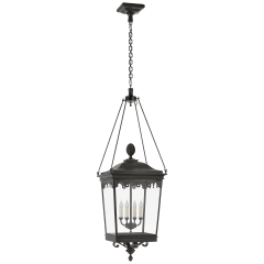 Rosedale Grand Large Hanging Lantern in French Rust with Clear Glass