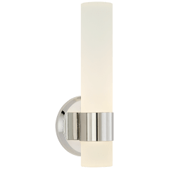 Barton Single Arm Sconce in Polished Nickel with Etched Crystal