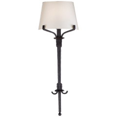 Allegra Medium Torch Tail Sconce in Aged Iron with Linen Shade