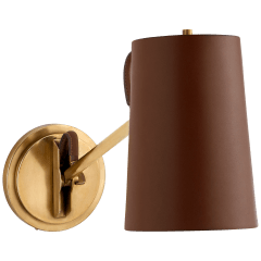 Benton Single Library Sconce in Natural Brass with Saddle Leather Shade